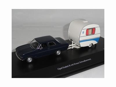 Schuco 1:43 Opel Kadett B met Knaus caravan blauw