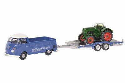 Schuco 1:43 Volkswagen T1C met Aanhanger en Allgaier Tractor