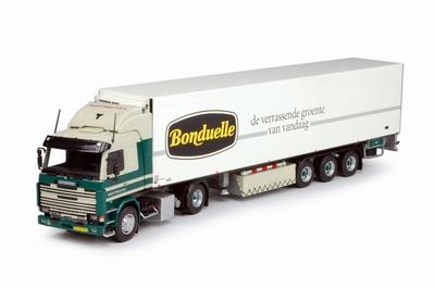 Tekno 1:50 Scania serie 3 Booy met Koeloplegger Bonduelle