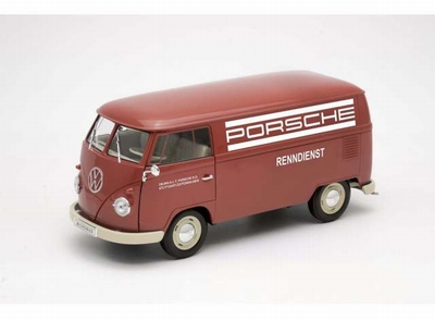 Welly 1:18 Volkswagen T1 panel van Porsche Renndienst rood