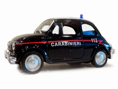 Welly 1:36-38 Fiat Nuova 500 Carabinieri donker blauw
