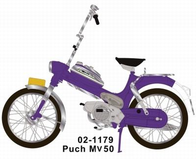 Brommer WSI 1:10 Puch MV50 Paars Hoog stuur