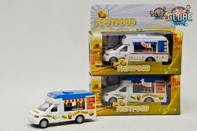 Kids Globe Metalen Truck Fast food met licht en geluid
