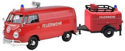 Motor Max 1:24 Volkswagen T1 Type 2 Fire Truck met Tools Trailer