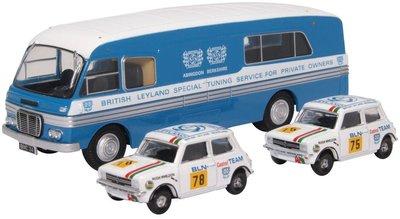 Oxford 1:76 Set BMC Transporter met 2 Mini 1275GT Set British Leyland Nederland