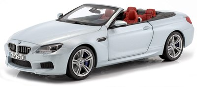 Paragon 1:18 BMW M6 F12 Cabrio 2012 zilver metallic