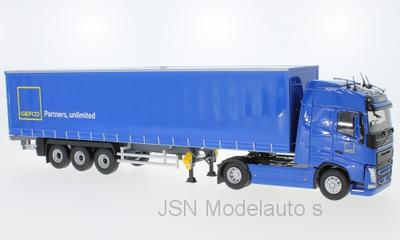 Eligor 1:43 Volvo FH 4 Tautliner Gefco Truck met oplegger blauw
