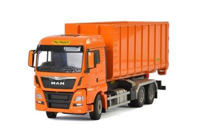 Wsi 1:50 MAN TGX XLX met haakarm systeem en container oranje Palfinger