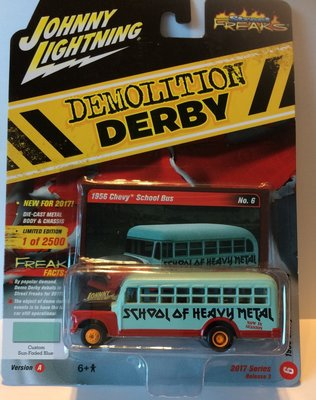 Johnny Lightning 1:64 Chevrolet Schoolbus 1956 blauw rood