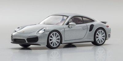 Kyosho 1:64 Porsche 911 Turbo 991 zilver