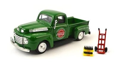 Motor City 1:43 Ford F1 groen Pickup with 2 Bottle Case and one Hand Cart