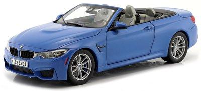 Paragon 1:18 BMW M4 cabriolet (F83) 2015 blauw