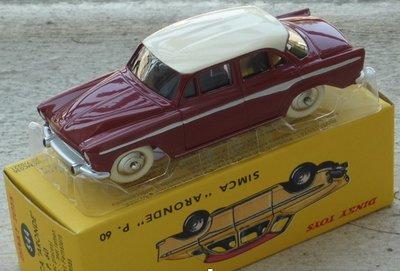 Dinky Toys 1:43 Simca Aronde P60 donker rood met wit dank no 544 Editon Atlas