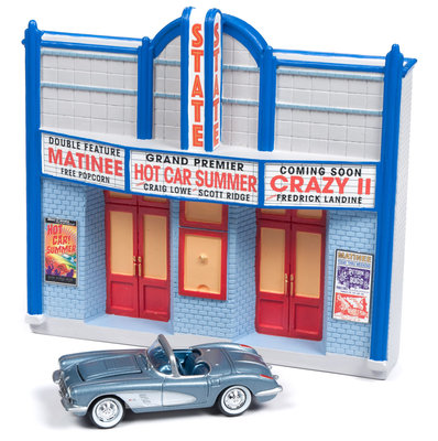 Johnny Lightning 1:64 Diorama State met Chevrolet Corvette Convertible 1958 American Snapshots