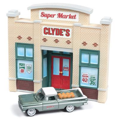 Johnny Lightning 1:64 Diorama Super Market Clyde's met Chevrolet El Camino 1959 American Snapshot