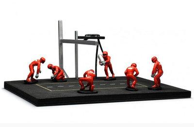 IXO 1:43 Pitstop Mechanic Set 6 figuren met Accessoires en Marlboro Decals rood