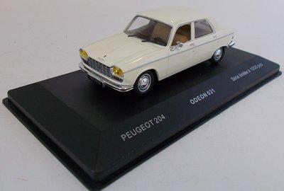 Odeon 1:43 Peugeot 204 1967 wit ( product bij IXO )