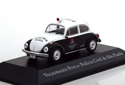 Atlas 1:43 Volkswagen Fusca Policia Civil de Sao Paulo zwart wit