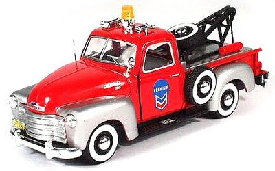 Cararama 1:43 Chevrolet C3100 Pickup Tow Truck rood zilver