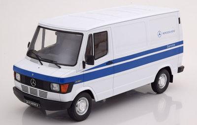 KK Scale 1:18 Mercedes 208 D Transporter Mercedes Service 1988 wit met blauw