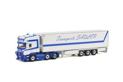 WSI 1:50 Scania R6 Topline Transports SADLER wit blauw