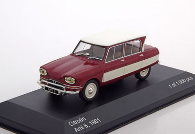Whitebox 1:43 Citroen Ami 6 1961 donkerrood met wit