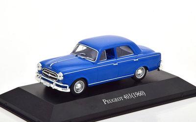 Atlas 1:43 Peugeot 403 Limousine 1960 blauw in blisterverpakking