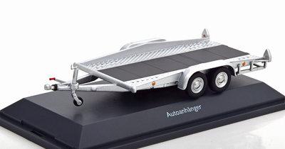 Schuco 1:43 Autoaanhanger / car trailer zilver