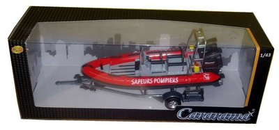Cararama / OLIEX 1:43 Zodiac Sapeurs Pompiers, brandweer boot