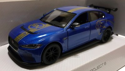 Kinsmart 1:36 Jaguar XE SV Project 8 2018 , blue with graphics