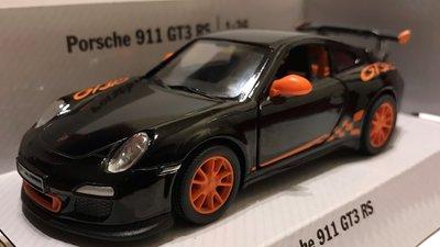 Kinsmart 1:36 Porsche GT3 RS 2010 zwart oranje