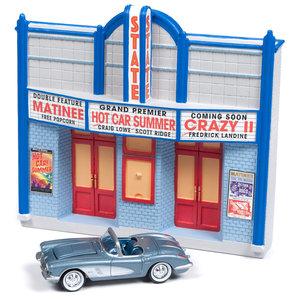Johnny Lightning 1:64 Diorama State met Chevrolet Corvette Convertible 1958 American Snapshots