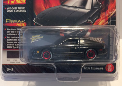 Johnny Lightning 1:64 Nissan 240SX Custom 1990 zwart, MiJo Exclusives