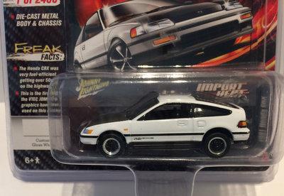 Johnny Lightning 1:64 Honda CRX 1991 wit met zwart MiJo Exclusives