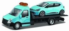 Bburago 1:43 Renault Clio met Flatbed Transporter blauw